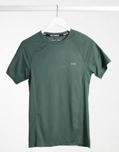 Обтягивающая спортивная футболка цвета хаки ASOS 4505 icon-Зеленый