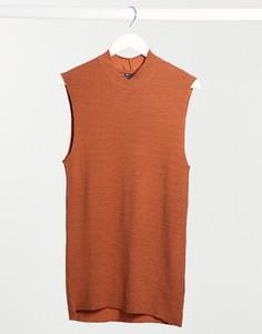 Облегающая майка с высокой горловиной из гофрированной ткани ASOS DESIGN-Оранжевый