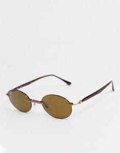 Узкие овальные солнцезащитные очки коричневого цвета без оправы Rayban-Коричневый