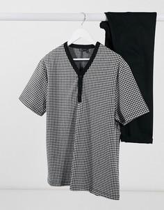 Oversized-футболка из трикотажа в «гусиную лапку» с V-образным вырезом и пуговицами ASOS DESIGN-Мульти
