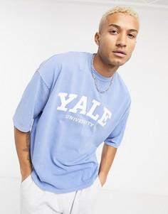 """Выбеленная синяя плотная oversized-футболка с надписью """"Yale"""" ASOS DESIGN-Синий"""