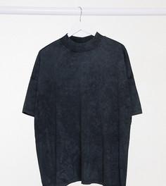 Свободная футболка выбеленного черного цвета с горловиной в рубчик ASOS DESIGN Curve-Серый