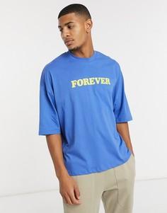 """Синяя oversized-футболка с надписью """"FOREVER"""" на груди ASOS DESIGN-Синий"""
