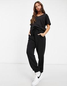 Комплект из футболки и джоггеров черного цвета Missguided-Черный