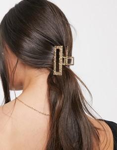 Золотистая прямоугольная заколка для волос ASOS DESIGN-Золотой
