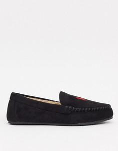 Черные слиперы-мокасины Polo Ralph Lauren-Черный