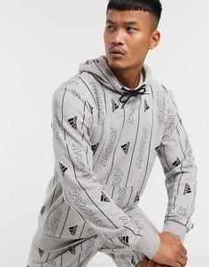 Худи серого цвета со сплошным принтом adidas Training-Серый