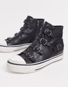 Черныевысокие кроссовкис пряжками Ash Virgin-Черный