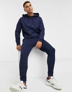 Темно-синий спортивный костюм с худиASOS DESIGN