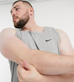 Серая майка с логотипом-галочкой Nike Training Plus essential-Серый