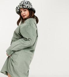 Эксклюзивное вельветовое платье-рубашка миди COLLUSIONPlus-Зеленый