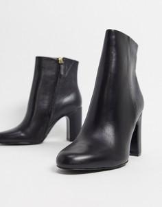 Черные кожаные ботильоны на каблуке ALDO-Черный