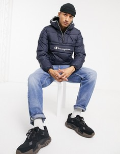 Темно-синяя дутая куртка-пуловер Champion-Темно-синий