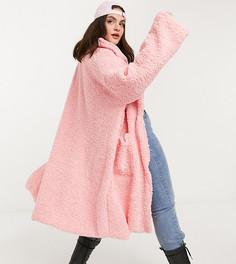 Длинное флисовое oversize-пальто Daisy Street Plus-Розовый