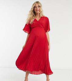 Красное плиссированноеплатьемидиNew Look Maternity-Красный