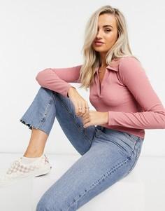Розовая приталенная рубашка-поло с длинным рукавом ASOS DESIGN-Фиолетовый