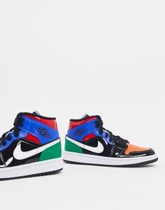 Разноцветные кроссовки Nike Air Jordan 1 Mid-Мульти