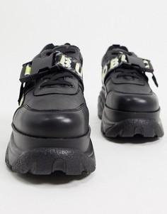 Черные кроссовки на массивной подошве с застежкой Buffalo-Черный