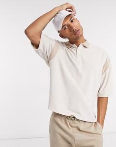 Меланжевое oversize-поло с широкими рукавами три четверти-Белый Asos