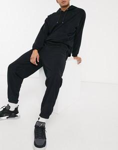 Черные свободные джоггеры в стиле oversized из плотного флиса от комплекта ASOS DESIGN-Черный