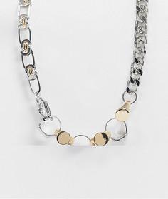 Серебристое и золотистое ожерелье-цепочка толщиной 10 мм с отделкой кольцами ASOS DESIGN-Мульти