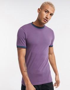 Фиолетовая футболка скинни с контрастным кантом ASOS DESIGN-Фиолетовый