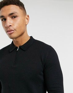Черная вязаная футболка-поло на молнии Topman-Черный
