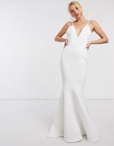 Платье макси с юбкой годе цвета слоновой кости с глубоким вырезом и открытой спиной True Violet Black Label-Белый