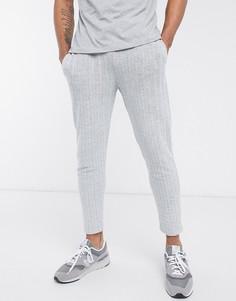 Серые джоггеры скинни в строгом стиле с манжетами на резинке и узором в елочку от комплекта ASOS DESIGN-Серый