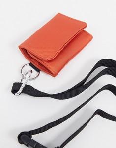 Оранжевая визитница из текстиля со съемным шнурком ASOS DESIGN-Красный
