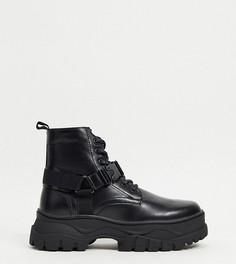 Черные ботинки для широкой стопы со шнуровкой из искусственной кожи с ремешком на массивной подошве ASOS DESIGN-Черный