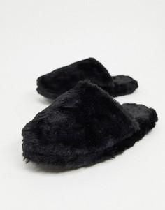 Черные слиперы из искусственного меха Lindex-Черный