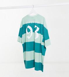 Свободное платье-футболка в стиле oversized в зеленую и шалфейную полоску с надписью «93» ASOS DESIGN Tall-Зеленый