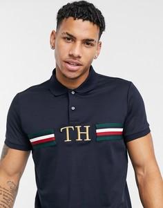 Темно-синяя футболка-поло из пике с логотипом-монограммой на груди Tommy Hilfiger-Темно-синий