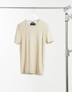 Светло-коричневая меланжевая футболка с короткими рукавами Abercrombie & Fitch-Светло-коричневый