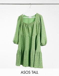 Многоярусное свободное платье мини с квадратным вырезом в зеленом цвете с цветочным принтом ASOS DESIGN Tall-Зеленый