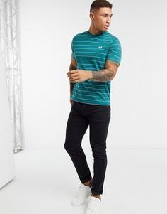 Бирюзовая футболка в тонкую полоску Fred Perry-Синий