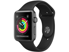 Умные часы APPLE Watch Series 3 38mm Space Grey Aluminium Case with Black Sport Band MTF02RU/A Выгодный набор + серт. 200Р!!!
