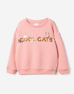 Розовый стёганый свитшот с принтом для девочки Gloria Jeans