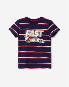 Тёмно-синяя футболка с машиной для мальчика Gloria Jeans