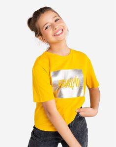Жёлтая футболка с принтом для девочки Gloria Jeans