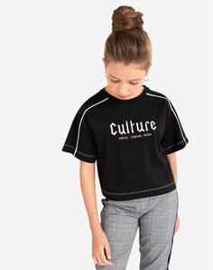 Чёрная футболка oversize с принтом для девочки Gloria Jeans
