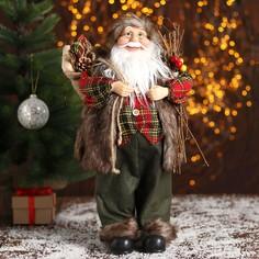 Дед мороз, в пушистой жилетке, с веточками Зимнее волшебство