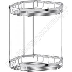Угловая двухъярусная полочка-решетка с крючками fbs 26/26 cm хром ryn 026