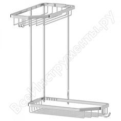 Угловая двухъярусная полочка-решетка с крючками fbs 20/20 cm хром ryn 013