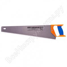 Ножовка по дереву россия 500 мм, шаг зубьев 6,5 мм, пластиковая рукоятка 23165