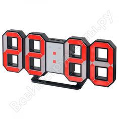 Часы будильник perfeo led luminous черный корпус красная подсветка pf 663 30010066