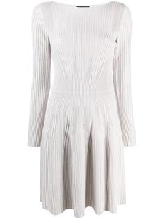 Emporio Armani расклешенное платье в рубчик
