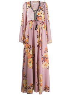 Etro длинное платье с цветочным принтом