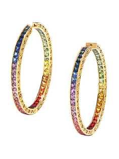 Dolce & Gabbana серьги-кольца из желтого золота с бриллиантами и сапфирами